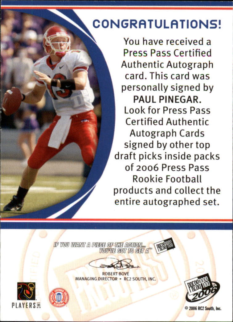 2006 Press Pass Autographs Bronze #52 Paul Pinegar back image