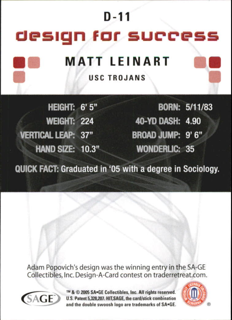 2006 SAGE HIT Design for Success Silver #D11 Matt Leinart back image