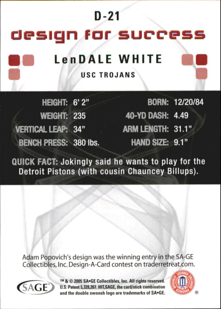 2006 SAGE HIT Design for Success Silver #D21 LenDale White back image