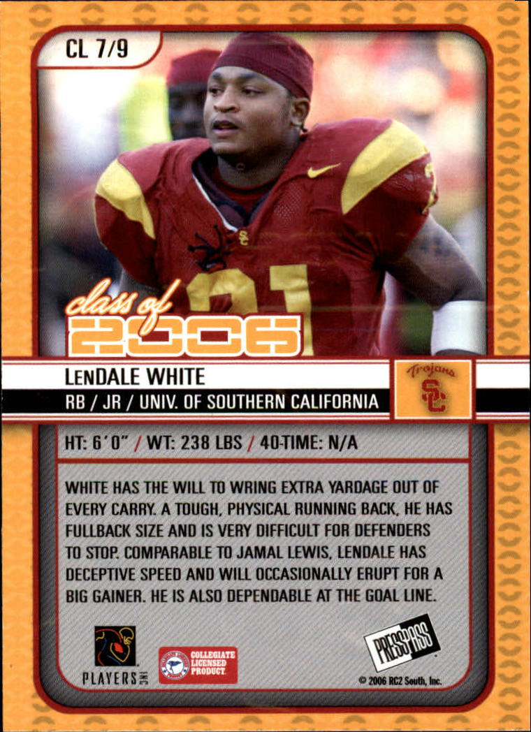 2006 Press Pass SE Class of 2006 #CL7 LenDale White back image