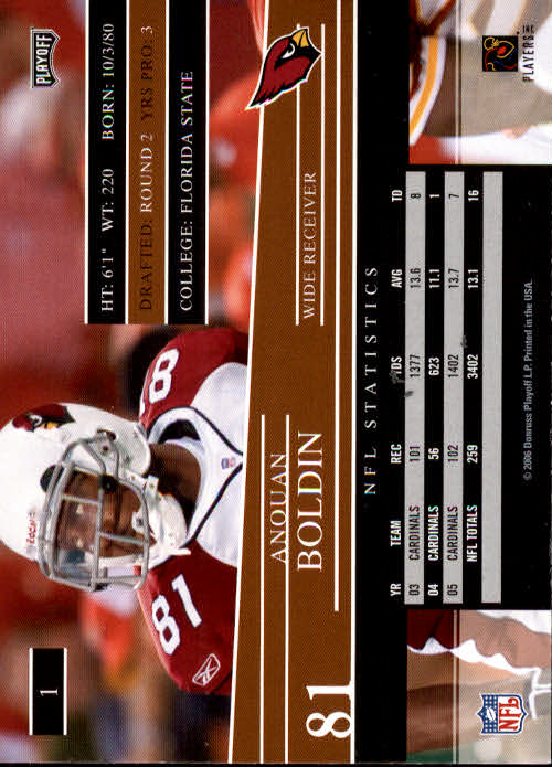 2006 Playoff Prestige #1 Anquan Boldin back image