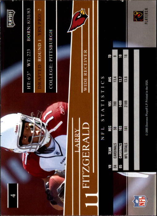 2006 Playoff Prestige #4 Larry Fitzgerald back image