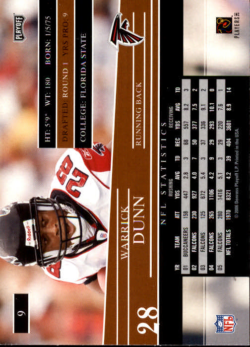 2006 Playoff Prestige #9 Warrick Dunn back image