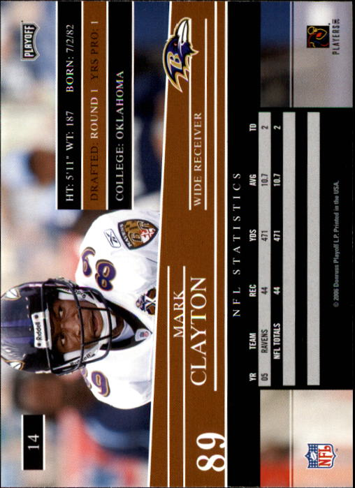 2006 Playoff Prestige #14 Mark Clayton back image