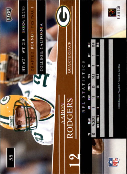 2006 Playoff Prestige #55 Aaron Rodgers back image