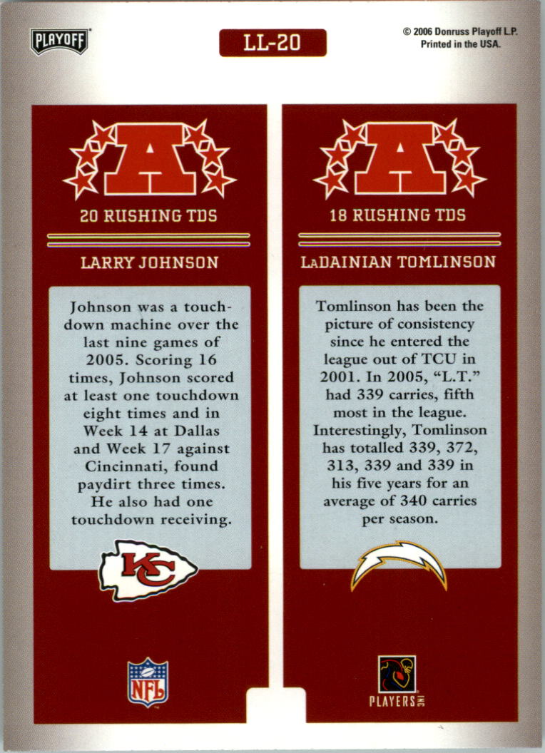 2006 Playoff Prestige League Leaders #20 Larry Johnson/LaDainian Tomlinson back image