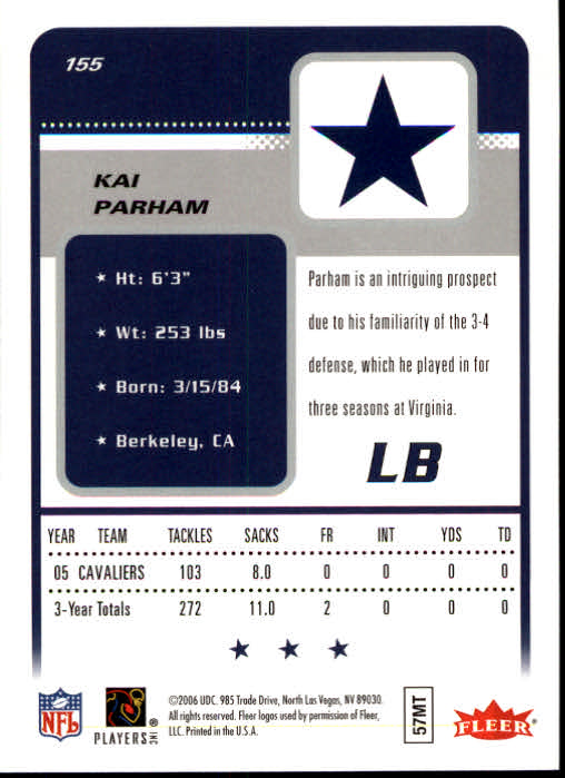 2006 Fleer #155 Kai Parham RC