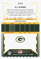 2006 Score #373 A.J. Hawk RC back image