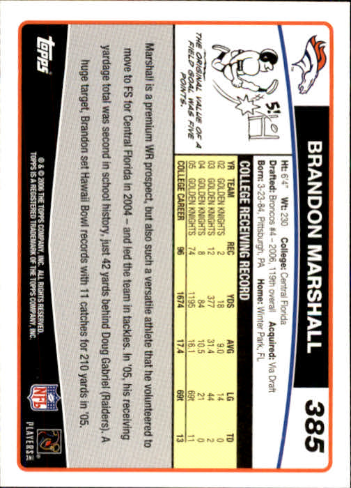 2006 Topps #385 Brandon Marshall RC back image