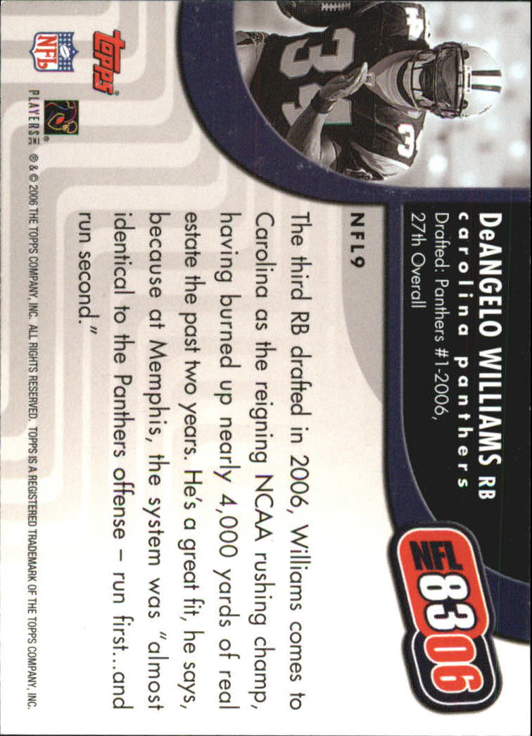 2006 Topps NFL 8306 #NFL9 DeAngelo Williams back image