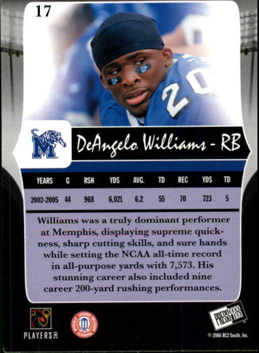 2006 Press Pass Legends #17 DeAngelo Williams back image