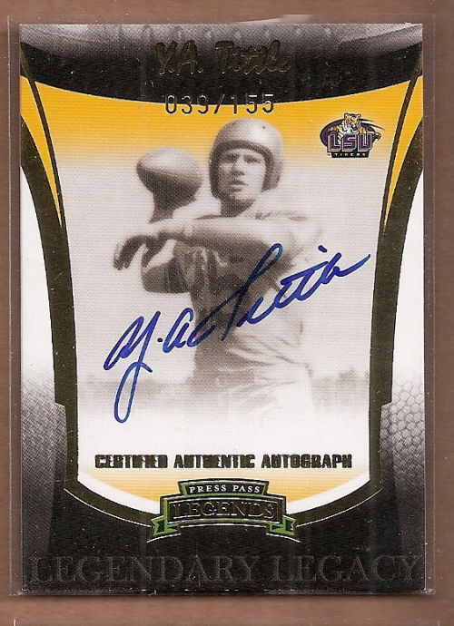 2006 Press Pass Legends Legendary Legacy Autographs Gold #19 Y.A. Tittle/155