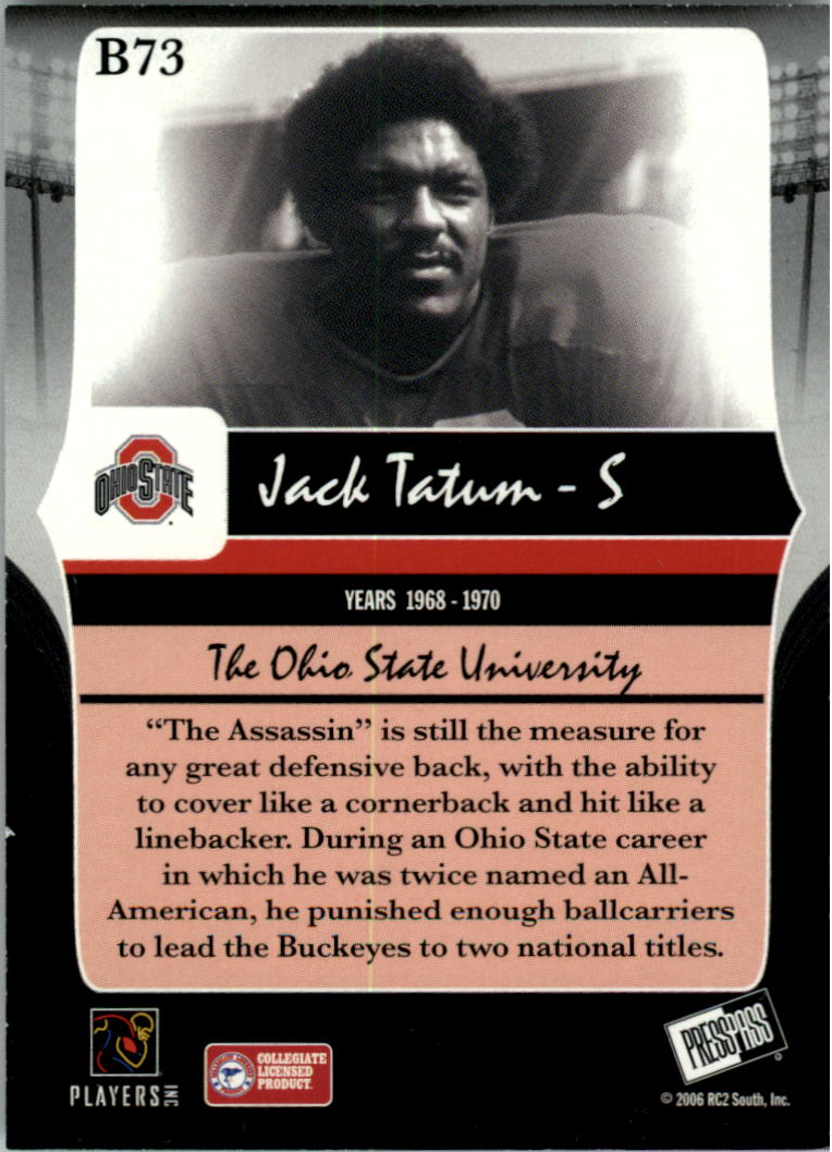 2006 Press Pass Legends Bronze #B73 Jack Tatum back image