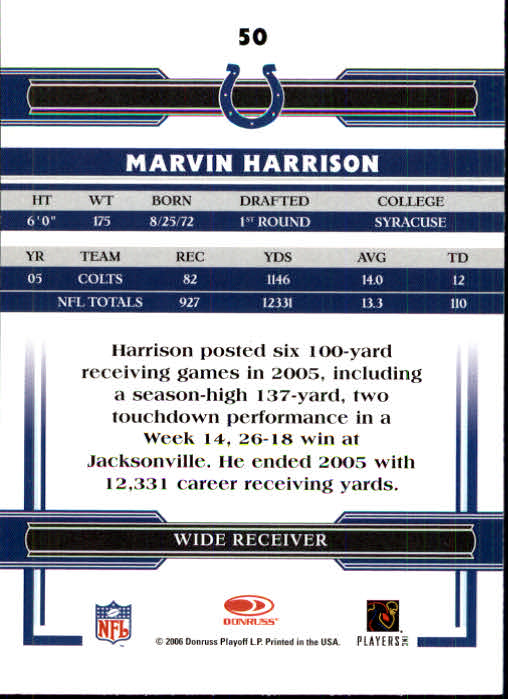 2006 Donruss Threads #50 Marvin Harrison back image
