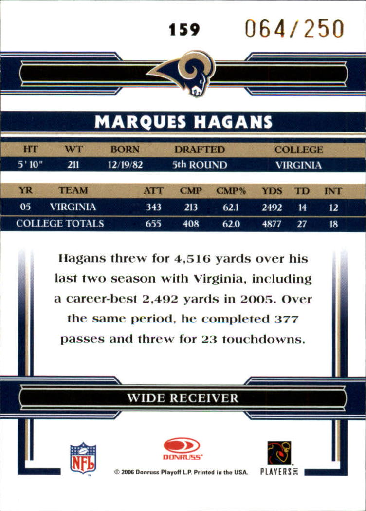2006 Donruss Threads Bronze Holofoil #159 Marques Hagans back image