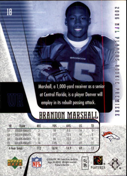 2006 Upper Deck Rookie Premiere #18 Brandon Marshall back image