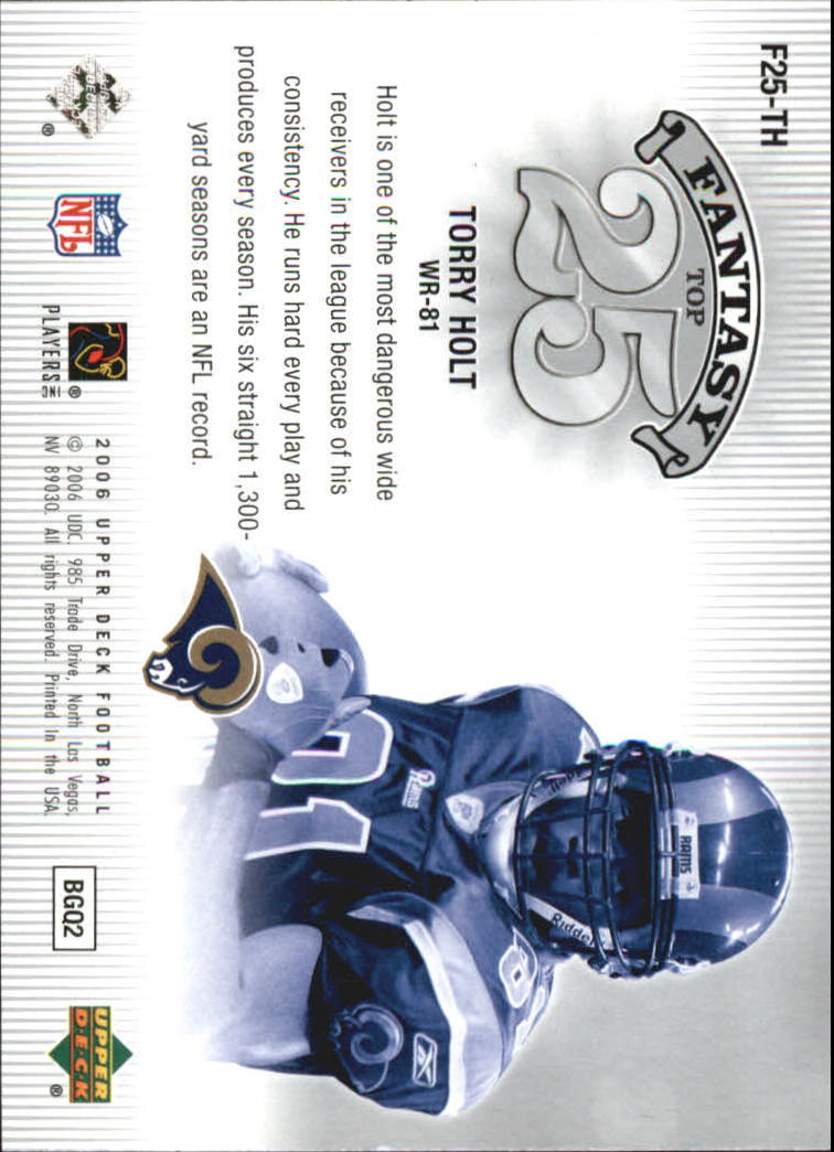 2006 Upper Deck Fantasy Top 25 #F25TH Torry Holt back image