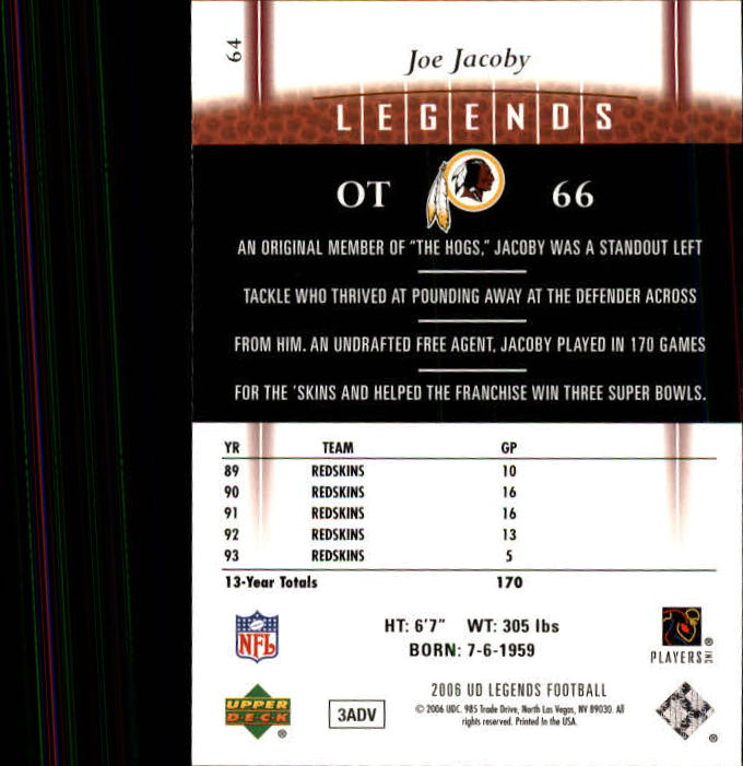 2006 Upper Deck Legends #64 Joe Jacoby back image