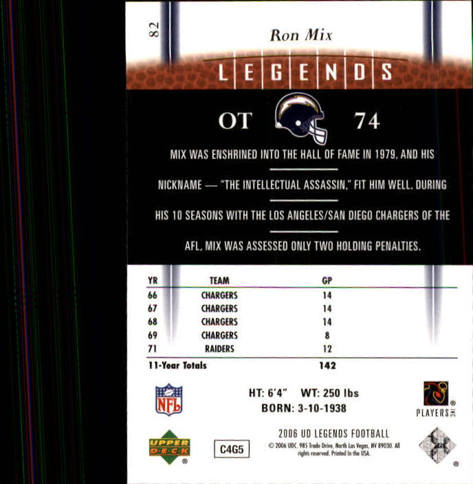 2006 Upper Deck Legends #82 Ron Mix back image