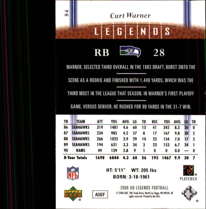 2006 Upper Deck Legends #84 Curt Warner back image