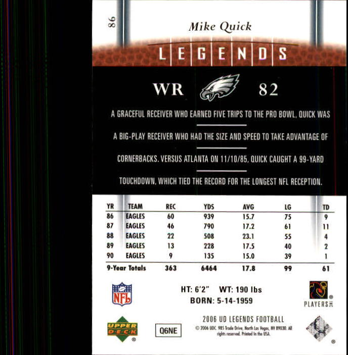 2006 Upper Deck Legends #86 Mike Quick back image