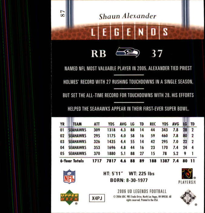 2006 Upper Deck Legends #87 Shaun Alexander back image