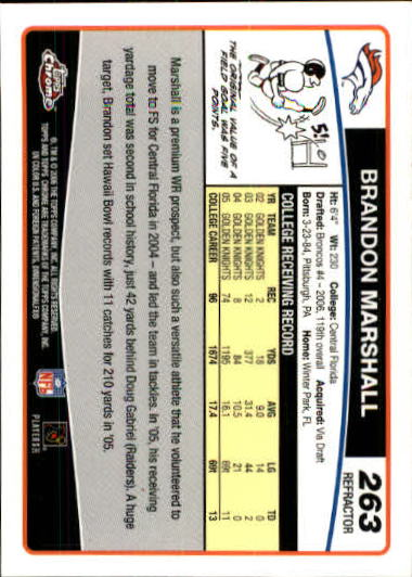 2006 Topps Chrome Refractors #263 Brandon Marshall back image