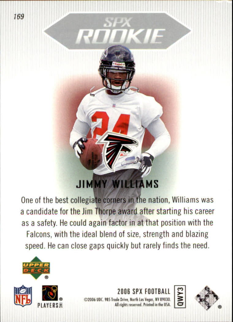 2006 SPx #169 Jimmy Williams RC back image