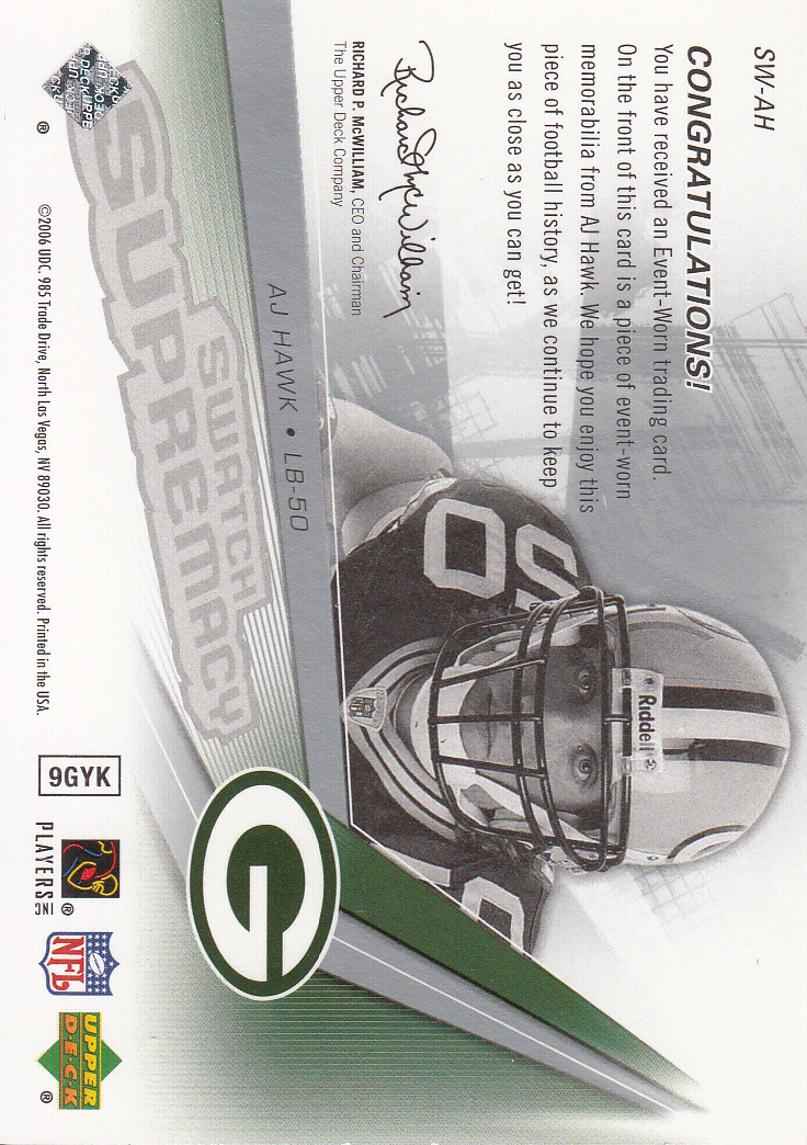 2006 SPx Rookie Swatch Supremacy #SWAH A.J. Hawk back image