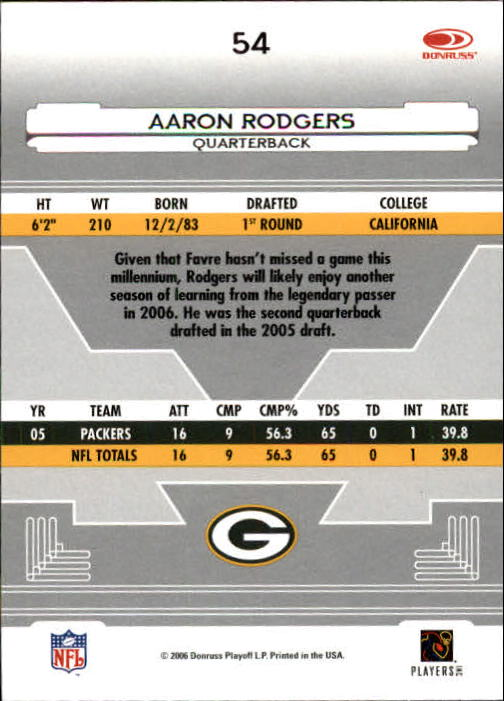 2006 Leaf Certified Materials #54 Aaron Rodgers back image