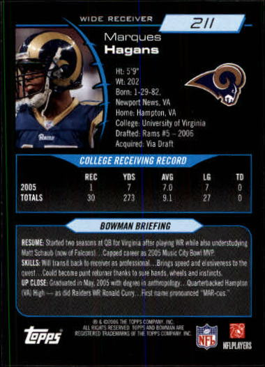 2006 Bowman #211 Marques Hagans RC back image