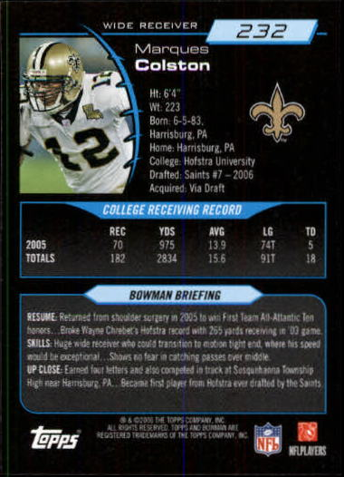 2006 Bowman #232 Marques Colston RC back image