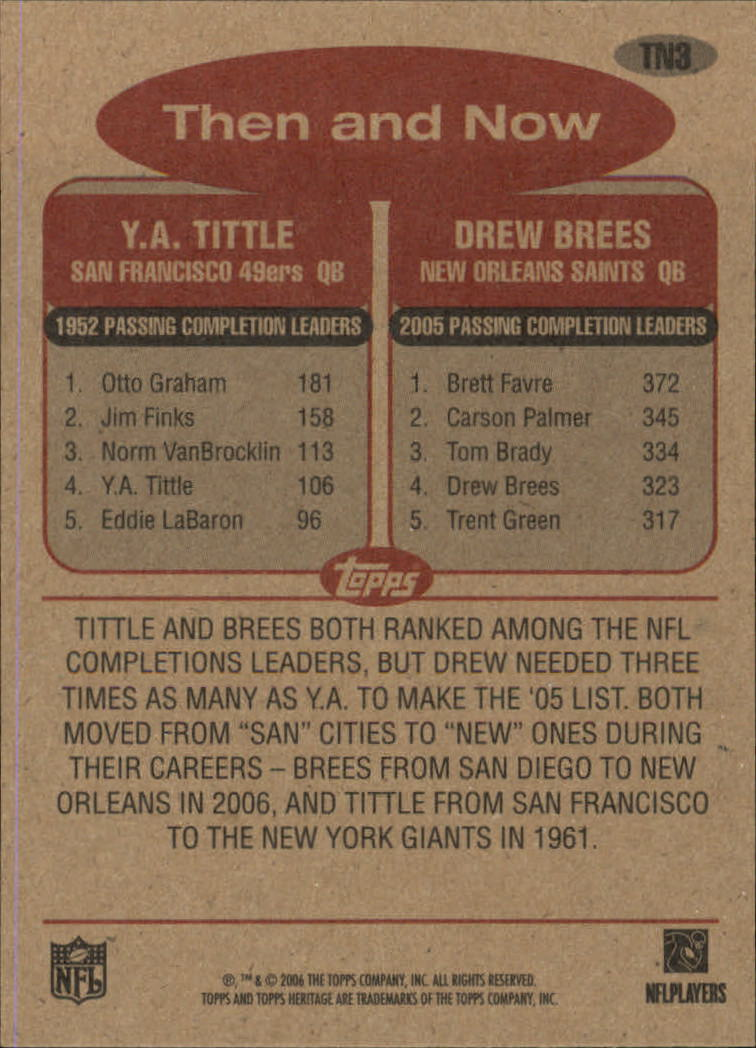 2006 Topps Heritage Then and Now #TN3 Drew Brees/Y.A. Tittle back image
