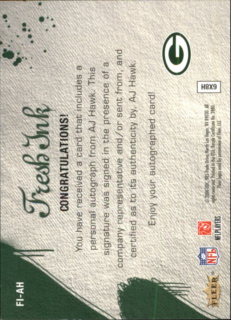 2006 Flair Showcase Fresh Ink #FIAH A.J. Hawk back image