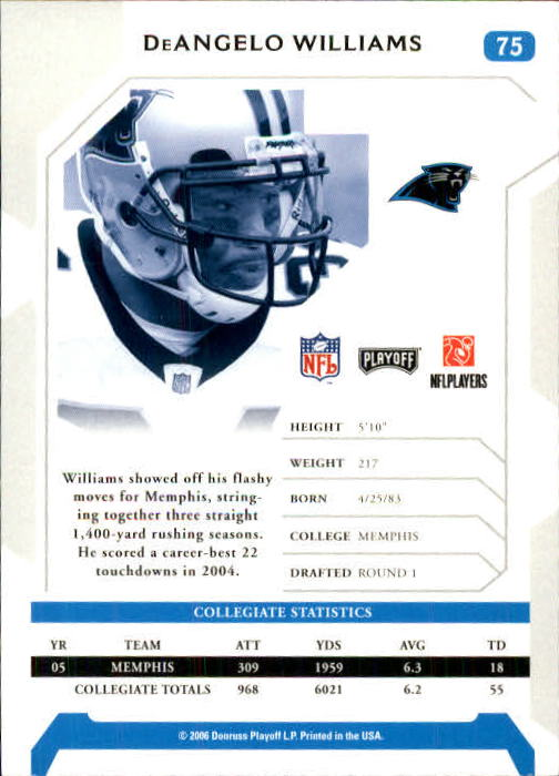 2006 Playoff NFL Playoffs #75 DeAngelo Williams RC back image