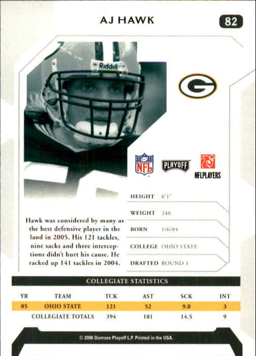 2006 Playoff NFL Playoffs #82 A.J. Hawk RC back image
