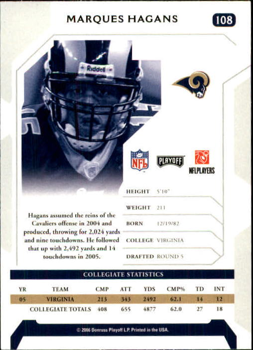 2006 Playoff NFL Playoffs #108 Marques Hagans RC back image