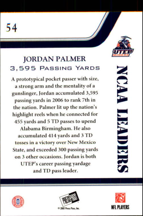 2007 Press Pass #54 Jordan Palmer LDR back image
