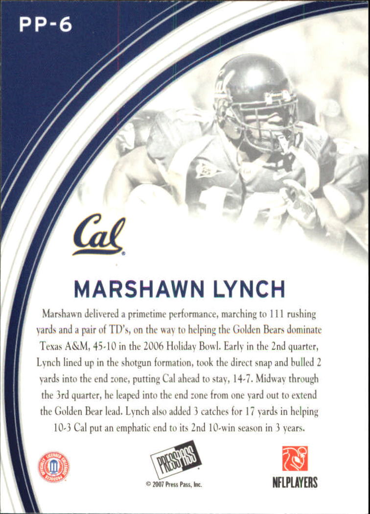 2007 Press Pass Primetime Players #6 Marshawn Lynch back image