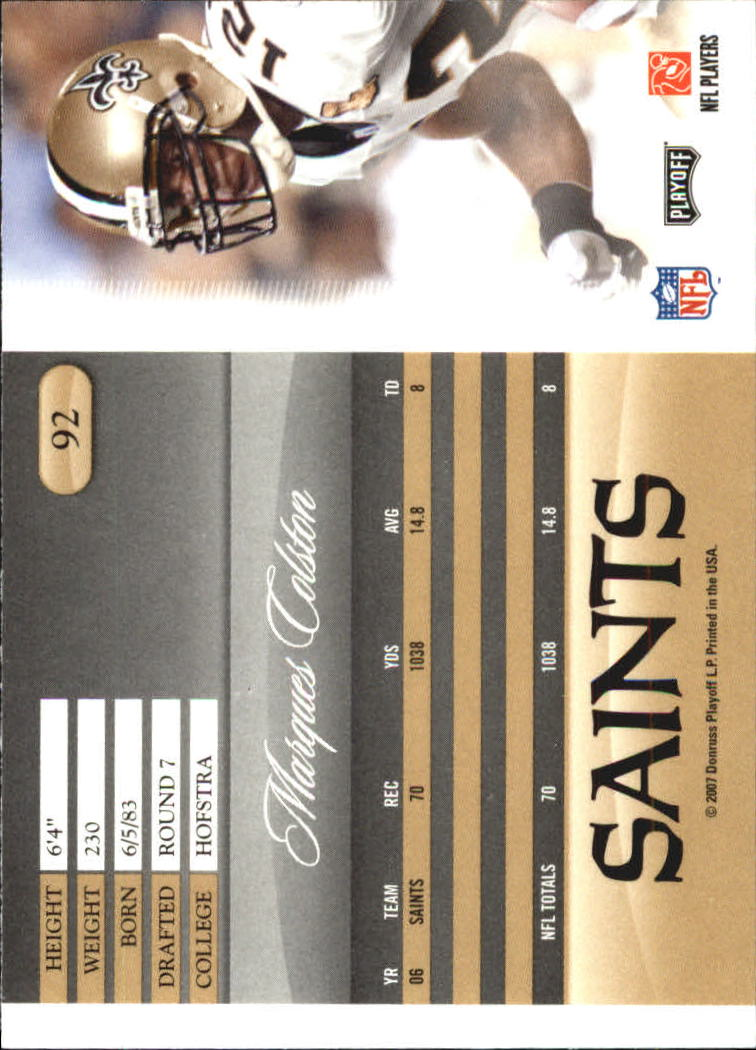 2007 Playoff Prestige #92 Marques Colston back image
