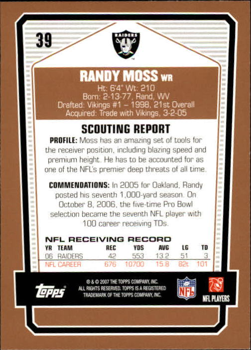 2007 Topps Draft Picks and Prospects #39 Randy Moss back image