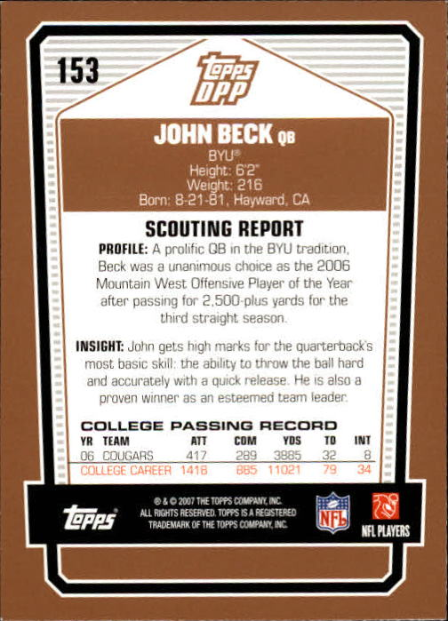 2007 Topps Draft Picks and Prospects #153 John Beck RC back image