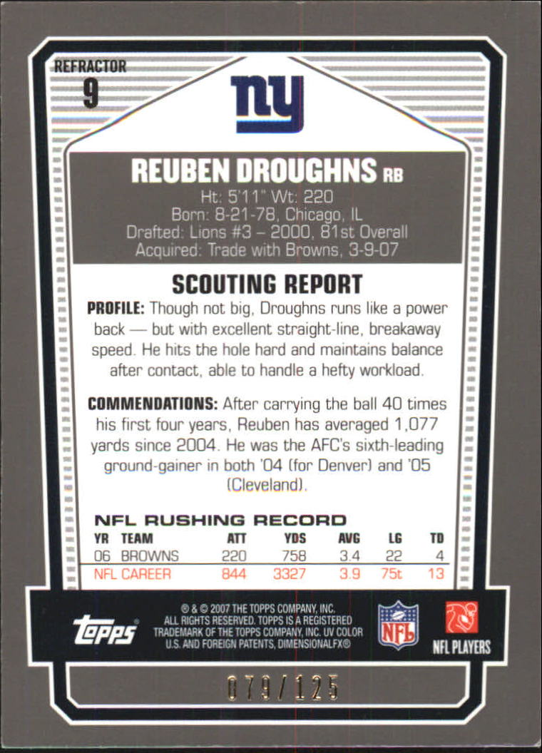 2007 Topps Draft Picks and Prospects Chrome Silver Refractors #9 Reuben Droughns back image