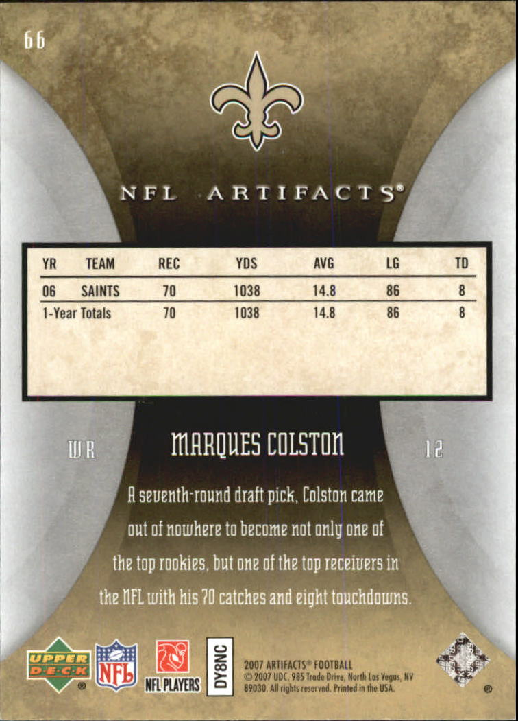 2007 Artifacts #66 Marques Colston back image