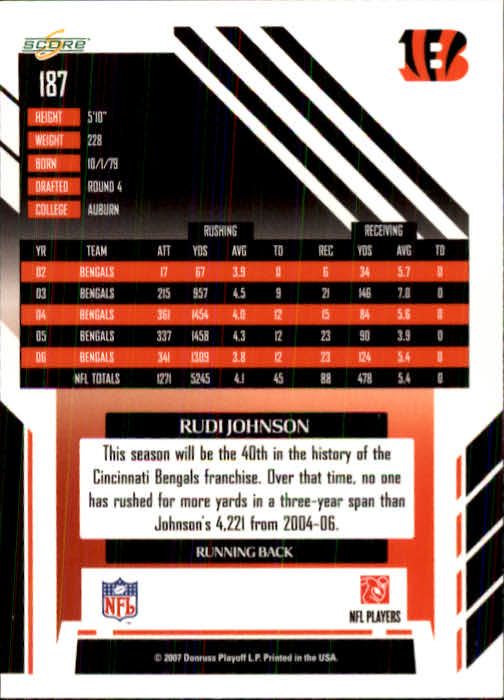 2007 Score #187 Rudi Johnson back image