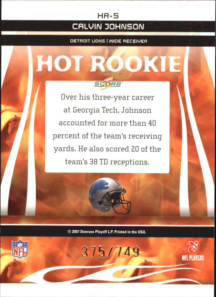 2007 Select Hot Rookies #5 Calvin Johnson back image