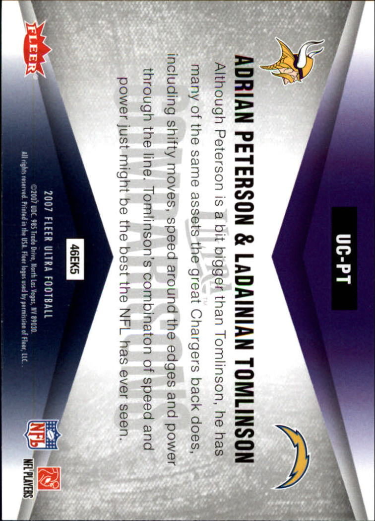 2007 Ultra Comparisons #PT Adrian Peterson/LaDainian Tomlinson back image