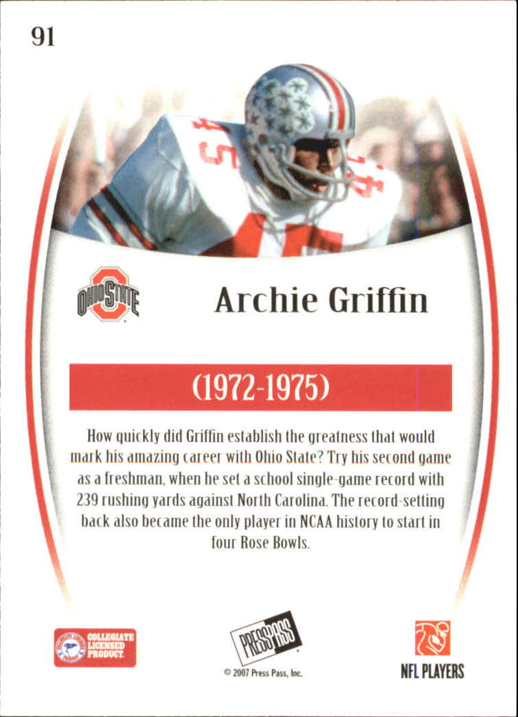 2007 Press Pass Legends #91 Archie Griffin back image