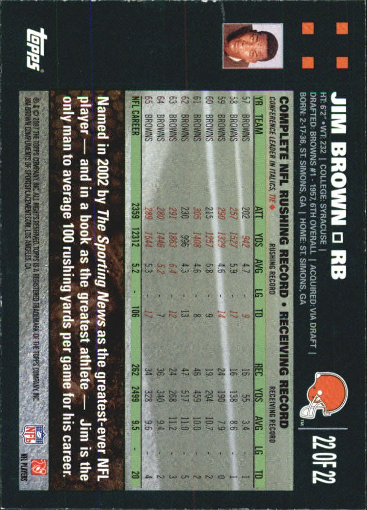 2007 Topps Turn Back The Clock #22 Jim Brown back image