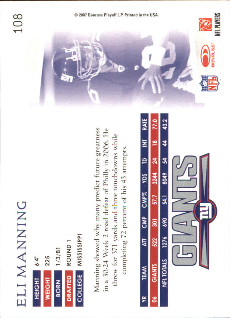 2007 Donruss Threads #108 Eli Manning back image